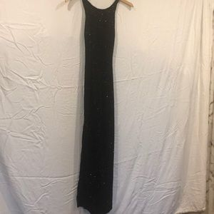 Black long sequined dress with side slits